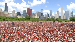 The Chicago Police said a couple people(over 2 million) showed up at the Blackhawks Cup Parade. (Comcast Sportsnet)